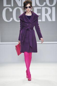 Enrico Coveri FW 2013/2014 collection #Coveri #purple #coat #fuchsia #fashion #catwalk