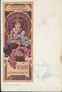 "Alphonse Mucha ""Vysko Exhibition, 1902"". ""Vysko Exhibition, 1902"" postcard illustrated by Alphonse Mucha, signed in the plate, published by Jana Hona, Vysko. Undivided back."