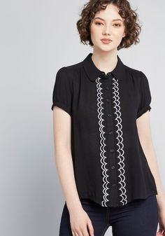 If ruffled edges are your thing, then you're sure to adore this black blouse from our ModCloth namesake label. A layered trim of embroidered lavender. Make Your Own Clothes, Look Thinner, Work Tops, Scallops, Sewing Clothes, Black Blouse, Modcloth, Fashion Advice, Short Sleeve Blouse