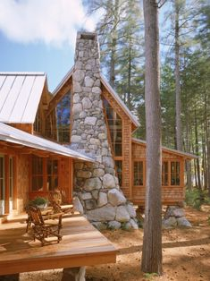 Pretty Rustic Home on wooded lot with Stone Chimney for 2 Story Fireplace
