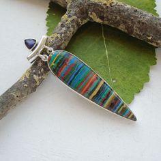 Regenbogen Calsilica & Iolith, Anhänger, 925 Sterling Silber in Uhren & Schmuck, Echtschmuck, Halsketten & Anhänger | eBay!