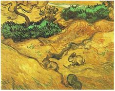 Vincent van Gogh: Field with Two Rabbits. Oil on Canvas. Saint-Remy: 1889. Amsterdam: Van Gogh Museum.