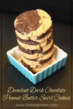 Who wants to choose between chocolate and peanut butter when you can have BOTH! These Decadent Dark Chocolate Peanut Butter Swirl Cookies are to die for!