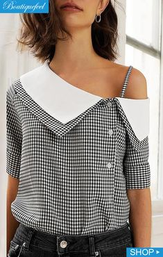 oblique placket blouses dresses casual blouse blusas print shoes grid Grid Print Oblique Placket Casual Blouse Grid Print Oblique Placket Casual BlouseYou can find Blouses and more on our website Blouse Styles, Blouse Designs, Trend Fashion, Fashion Design, Unique Fashion, Estilo Fashion, Punk Fashion, Lolita Fashion, Fashion Ideas