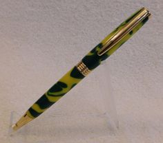 Handmade Green & Yellow Acrylic Trimline Pen with Gold Hardware, John Deere pen, hand crafted, unique ink pen, twist pen, hand turned, 299 by JDHomeGallery on Etsy