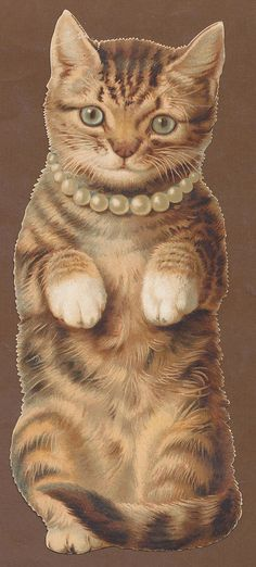 C2390 Good Large Victorian Die Cut New Year Card: Cat in Pearls