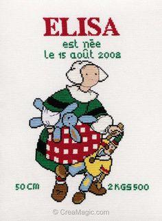 broderie au point de croix Bécassine Elisa en kit broderie de Princesse 7193 Doll Toys, Dolls, Le Point, Ribbon Embroidery, Needlework, Alphabet, Cross Stitch, Instructions, Comics