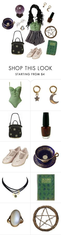 """""""She's changing her name from Kitty to Karen-"""" by brujaja ❤ liked on Polyvore featuring Versace, Marc by Marc Jacobs, ROOTOTE, OPI and Topshop"""