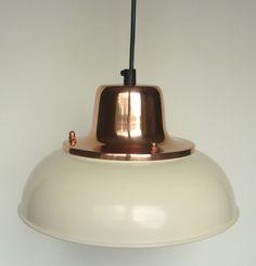 Superbe CREAM AND COPPER VINTAGE ENAMEL STYLE CEILING LAMP LIGHT SHADE BISTRO  PENDANT