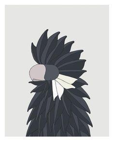 Carnaby´s Black Cockatoo - bird art by Australian graphic designers Eggpicnic.