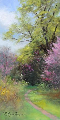 """Beautiful flowering tree pathway, """"Spring Trail"""" Oil painting by Anna Rose Bain Watercolor Landscape, Landscape Art, Landscape Paintings, Art Paintings, Watercolor Paintings, Pinturas Em Tom Pastel, Urbane Kunst, Pastel Art, Pictures To Paint"""