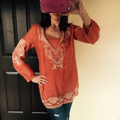 Beautiful Embroidered Boho Tunic Beautiful Embroidered Tunic. Light weight cotton with coordinating Cami. Size Small but runs big fits more like a medium. Nordstroms Tops Tunics