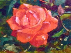 Daily Painters of Florida: Raindrops on Roses, 8x6 Oil on Canvas by Carmen Beecher