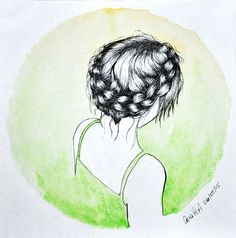 watercollor arte by Ana Porto Alegre #hair #girl #illustration #crownbraid