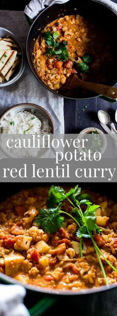 Hearty, rich and nourishing, Cauliflower-Potato Red Lentil #Curry comes together with ease. Simple enough for a weeknight meal, it's freezer friendly too. | #Vegan | #GlutenFree | #Vegetarian #Recipes | #Recipe