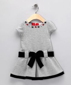 Gray Ponte Bow Dress - Infant, Toddler & Girls #fall #zulily