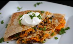 Black Bean & Sweet Potato Quesadillas (I like to use redpeper, pineapple and cheddar cheese too)