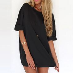 Summer Style Fashion Women Casual Loose Dress Sexy Ladies Short Sleeve Solid Color Mini Dresses Vestidos Plus Size - Black, XXXL Like it? Get it here