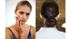 The Look: Cobalt Nails and Hair Ties How-To: Yves Klein blue has been a signature color in Reed Krakoff's collections since the very first one, so it's no surprise that he came back to the bold cobalt for his Spring 2015 show. The moody hue was everywhere from the gallery walls to the nails to the hair accessories. Hairstylist Kevin Ryan pulled the hair into a low ponytail and secured with an elastic, but didn't pull the hair all the way through on the last loop, so the ends were left…