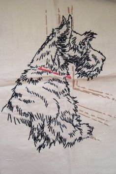 Vintage Scottish Terrier Embroidery on Linen Scotty Dog Scottie Darling via Etsy