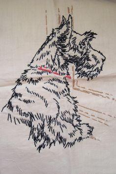 Vintage Scottish Terrier Embroidery on Linen Scotty Dog Scottie Darling via Etsy