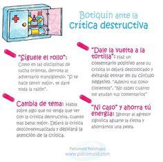 """Hola: Compartimos una infografía sobre """"Crítica Destructiva - 4 Tips para """"Manejarla"""" a tu Favor"""". Un gran saludo. Elaboración: Psicomold.com Enlaces de interés: 12 Puntos Importantes..."""