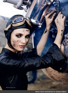 Amelia Earhart for Marie Claire by Giuliano Bekor, via Behance Amelia Earhart, Steampunk Makeup, Steampunk Clothing, Steampunk Fashion, Gothic Steampunk, Victorian Gothic, Gothic Lolita, Gothic Fashion, Women's Fashion