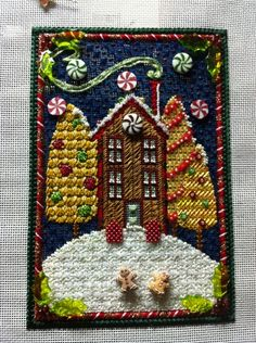 Gingerbread house in needlepoint