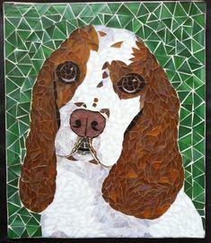 Oscar! Mosaic dog portrait by Christina Rutheiser at CreativeArfs.com