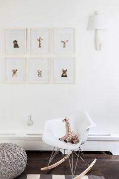 A gender neutral modern animal nursery featuring Animal Print Shop prints, Stokke crib, Eames rocker and fun accessories. Safari Room, Safari Nursery, Nursery Prints, Giraffe Nursery, Nautical Nursery, Baby Bedroom, Kids Bedroom, Animal Print Shop, Animal Prints