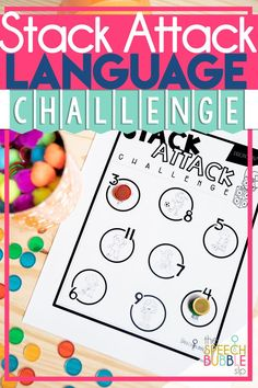 No prep printable that's great for mixed groups!! This stack attack is perfect for working on language development using categories, associations, tenses, synonyms and more! #Speech #therapy #SpEd #ELA #OT #SLP #communication #fun #activity