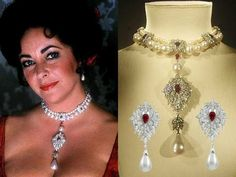 The La Peregrina Pearl; a perfect pear-shaped natural pearl once owned by Bloody Mary, Queen of Scots; a gift from husband Richard Burton. Karipearls includes a great story about her La Peregrina pearls... now only with great pics of the piece, but also highlights her passion for life, her largeness of character and her.. normal-ness!