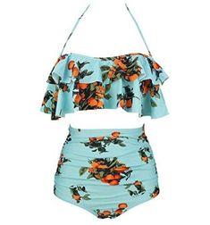 Retro Boho Flounce Falbala High Waist Bikini Set Chic Swimsuit Source by beachwear Swimsuits For Teens, Cute Swimsuits, Vintage Swimsuits, Trendy Swimwear, Bikini Swimwear, Retro Swimwear, Flounce Bikini, Retro High Waisted Bikini, Bikini Retro