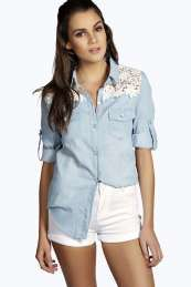 Lisa Half Crochet Back Denim Shirt