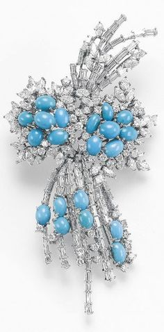 A Turquoise and Diam beauty bling jewelry fashion
