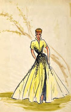 """Lucy Costume Sketch for """"Forever Darling"""" Elois Jenssen sketch for Lucille Ball"""
