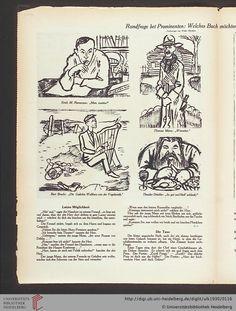 """Walter Herzberg: Rundfrage im ULK von 1930: """"Welches Buch möchten Sie am liebsten geschrieben haben?"""" Brecht: """"Die Gedichte Walthers von der Vogelweide."""""""