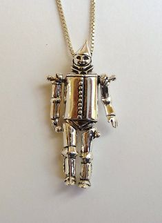 Sterling Silver Moveable Wizard of Oz Tinman Necklace on Etsy, $145.00