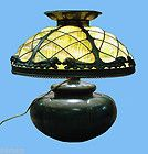 For Sale - ARTS N CRAFTS LAMP BRONZE BASE w BLOWNOUT SLAG GLASS & ANIMALS AROUND SHADE
