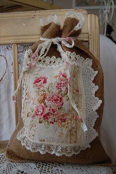 burlap bag w/flowers & lace