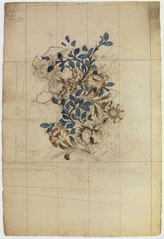 William Morris, drawing for Poppy design wallpaper.