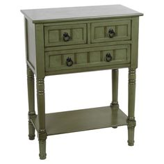 Three-drawer telephone table in distressed green.  Product: Table  Construction Material: Wood  Color...