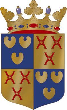 """Wapen Geldrop-Mierlo. 21 december 2004: """"Gevierendeeld; I en IV in azuur drie meerbladeren van goud; II en III in goud drie molenijzers van keel. Het schild gedekt met een gouden kroon van drie bladeren en twee parels.""""  Geschiedenis van het wapen: Bij Koninklijk Besluit van 21 december 2004 werd het wapen met bovenstaande beschrijving verleend. Dit wapen is een samenvoeging van elementen van de wapens van de voormalige gemeente Geldrop en Mierlo."""