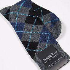 SAKS FIFTH AVENUE Men's Full-Argyle Cashmere Blend Socks GRAY Made in Italy NEW