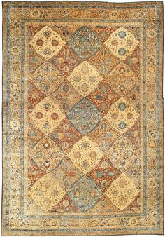 Antique Persian Kirman Rug Antique Rug Persian Carpet with floral ornaments. Interior living room decor with century antique rugs hand knotted wool Winter Home Decor, Winter House, Persian Carpet, Persian Rug, Carpet Runner, Rug Runner, Blue Art, Rugs On Carpet, Antiques