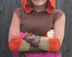 Orange Hooded Pullover Upcycled Sweater Tunic with Hood Hoodie and Front Pocket in orange Brown Paisley OOAK Fairy Pixie elf coat fairy coat - Edit Listing - Etsy