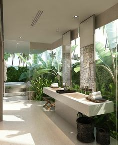 Home Decorating Ideas Bathroom bathroom design ideas traumbader bathroom in white with many green plants Home Decorating Ideas Bathroom Source : badgestaltung ideen traumbader badezimmer in weis mit vielen grunen pflanzen by sugarws Share Bad Inspiration, Bathroom Inspiration, Bathroom Ideas, Bathroom Spa, Paris Bathroom, Master Bathroom, Gold Bathroom, Jungle Bathroom, Zebra Bathroom