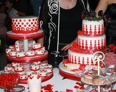 Cakes red,mini cakes pois,White,graduation, torta di laurea pdz, mmf