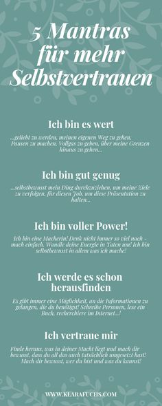 Ich bin gut genug , o… 5 mantras for more confidence and self-esteem. I'm good enough, o … 5 mantras for more confidence and self-esteem. Mantra, Mental Training, Health Logo, Psychology Facts, Cognitive Psychology, Forensic Psychology, Psychology Major, Not Good Enough, Health Quotes