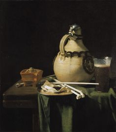 Pieter van Anraadt - Jug, Glass of Beer and Pipes on a Table  1658  oil on canvas  The Mauritshuis, The Hague